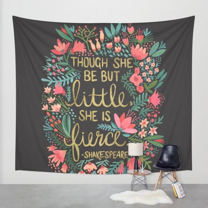 Little & Fierce on Charcoal Wall Tapestry by Cat Coquillette | Society6