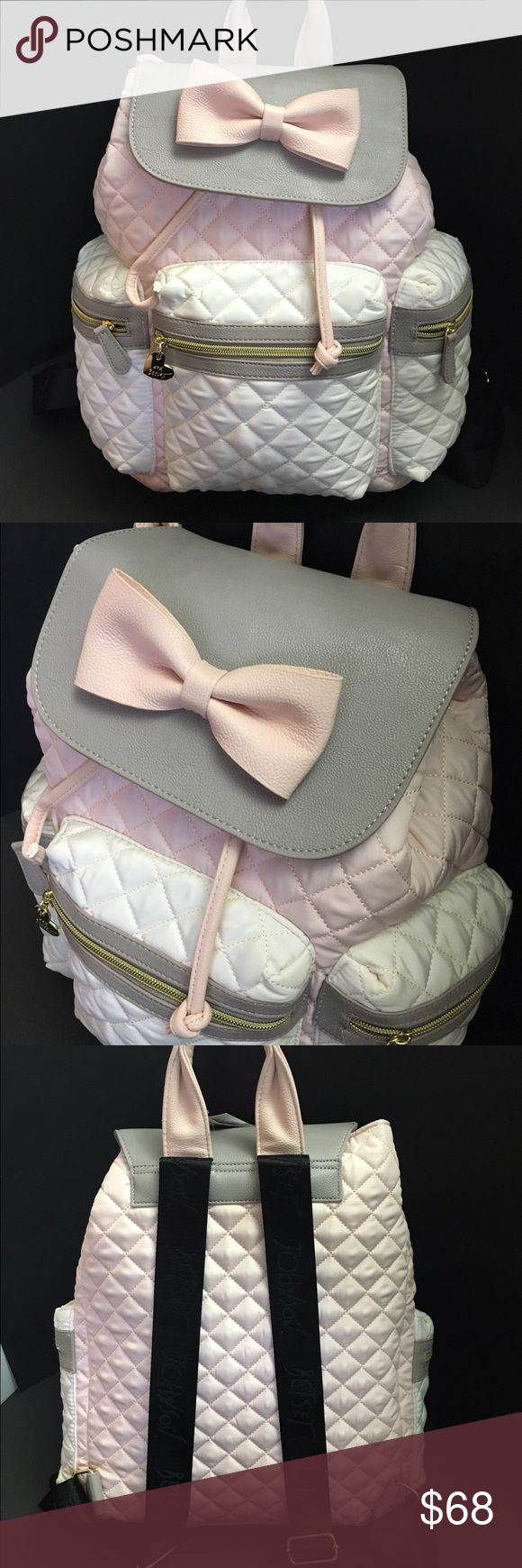 Betsey Johnson quilted backpack bow pink grey Betsey Johnson quilted backpack blush pink with grey and white/cream accents. Gold toned hardware. Adjustable backpack straps. Pink bow in front super cute🎀🎀 Betsey Johnson Bags Backpacks