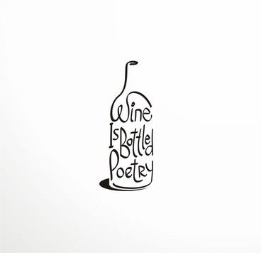Wine is bottled poetry logo by artmaker, via Behance. Stunner.