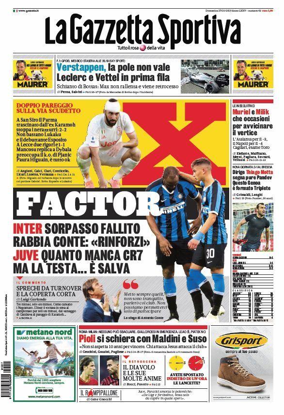 """Prima Pagina La Gazzetta dello Sport """"X Factor"""" (con"""