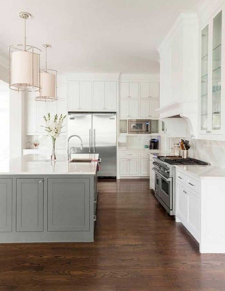 29 Stunning White Kitchen Cabinet Decor Ideas With Photos For 2020 Contrasting Kitchen Island Grey Kitchen Island White Kitchen Island