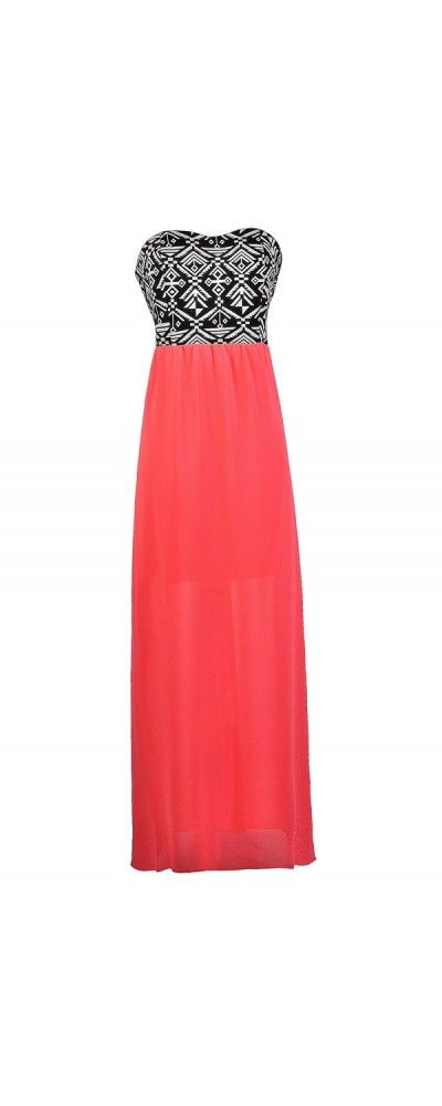 Lily Boutique Southwest Orchids Patterned Maxi Dress in Hot Pink, $36 Hot Pink…
