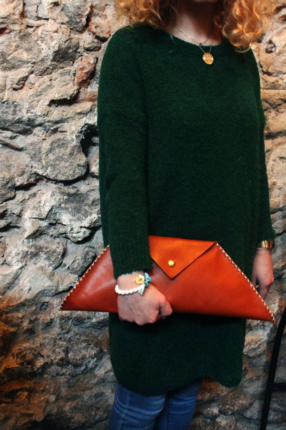 Leather Clutch by Fanfanleathergoods on Etsy