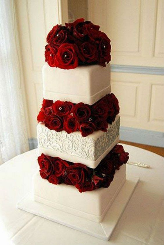 white and red wedding cakes / http://www.deerpearlflowers.com/fall-red-wedding-ideas/2/