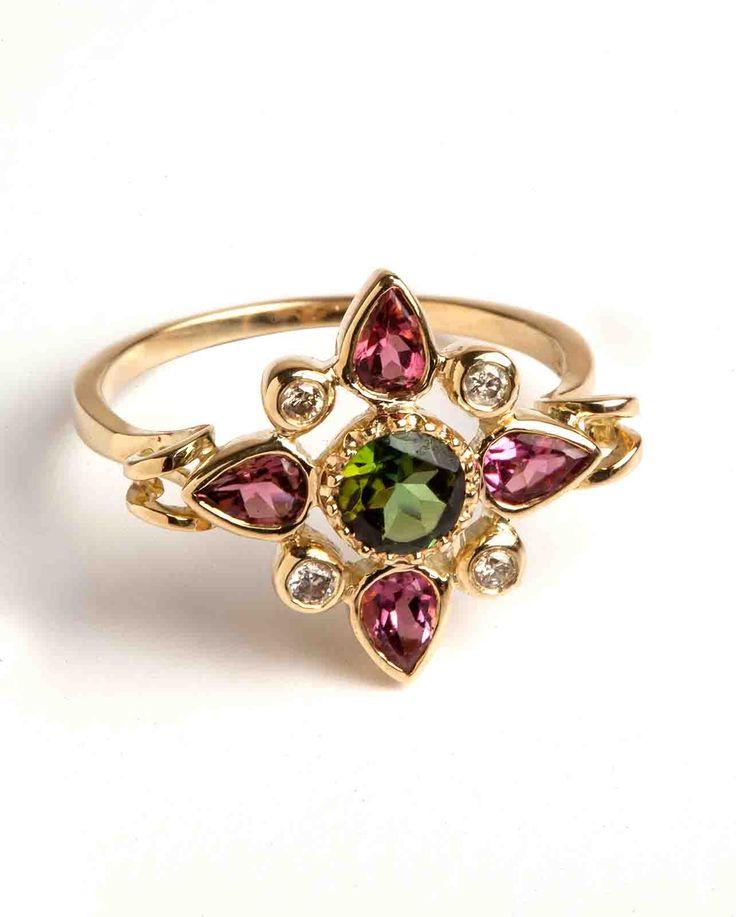 Hania Kuzbari Arabesque Collection ring of 18K yellow gold, brown diamond, pink and green tourmaline // http://haniakuzbari.com/arabesque.php