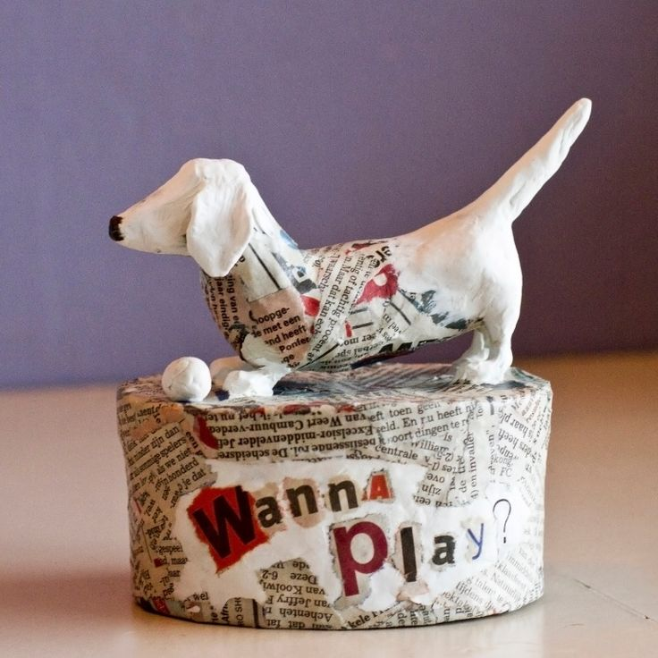 Wanna play? #Dog #PapierMaché #Paper #WannaPlay?