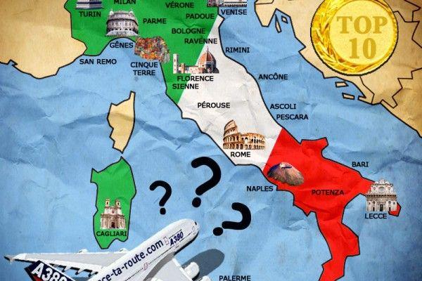 Carte de l'Italie avec les villes et les monuments - TOP 10 visites