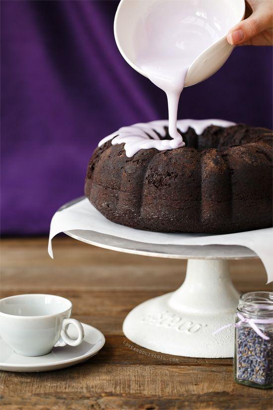 Decorating Earl Gray Chocolate Lavender Cake