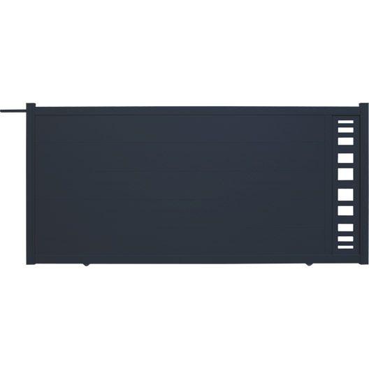 Portail coulissant en aluminium Portland NATERIAL, l.350xH.170 cm