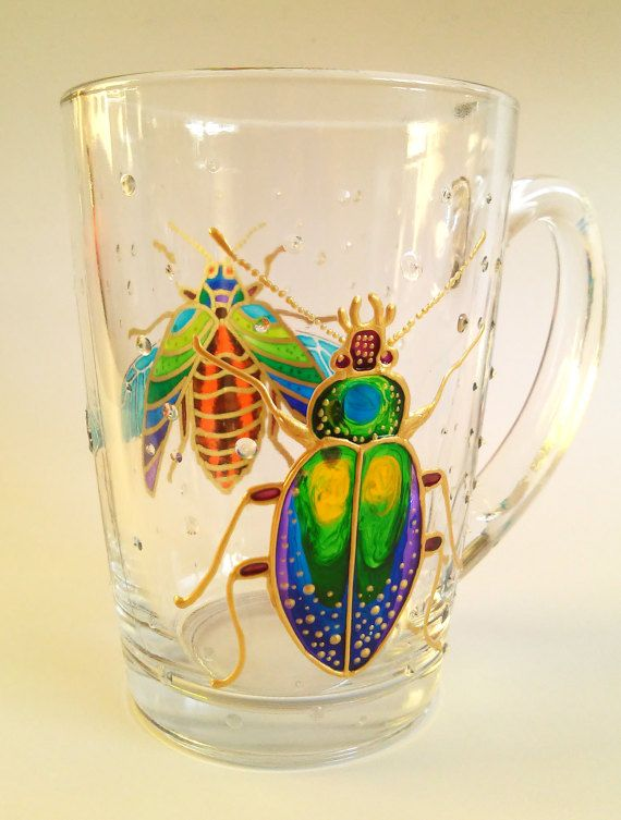 3328 best images on pinterest glass hand painted for Cool glass coffee mugs