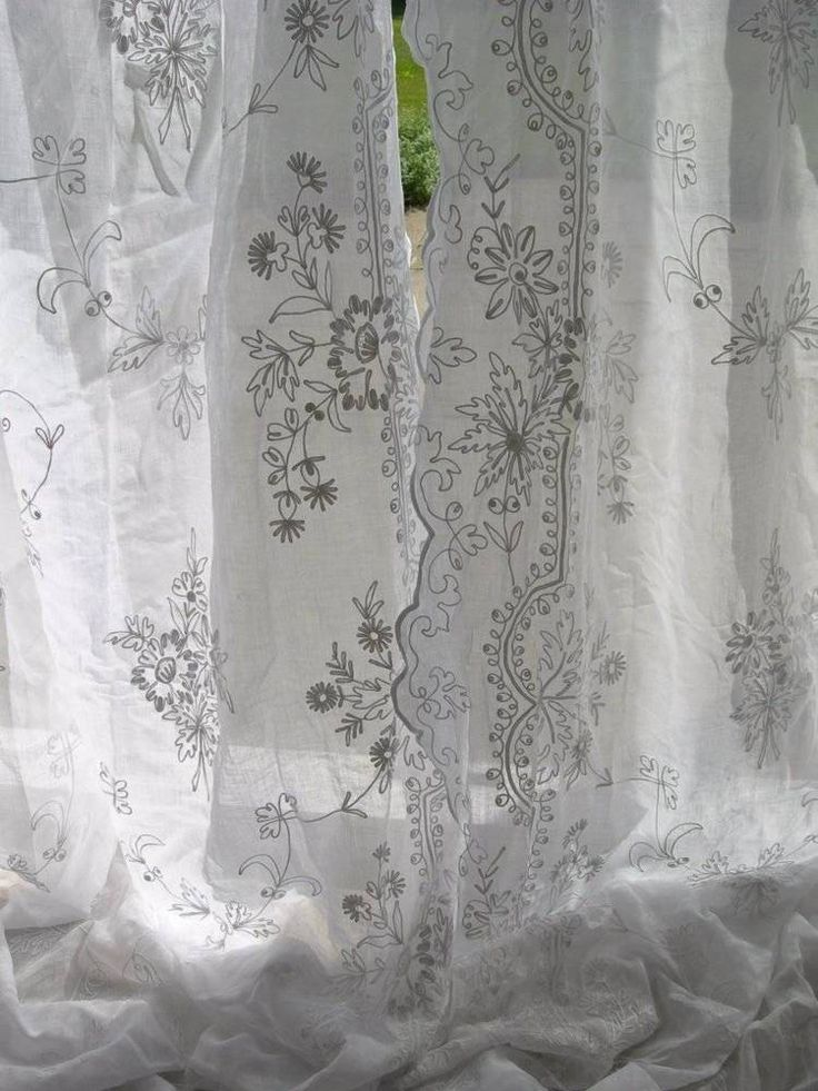 Divine Pair Long Antique French Cornely Embroidered Whitework Muslin Curtains