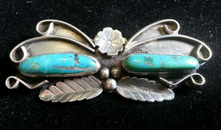 Vintage Navajo Sterling Silver and Turquoise Butterfly Brooch  | eBay