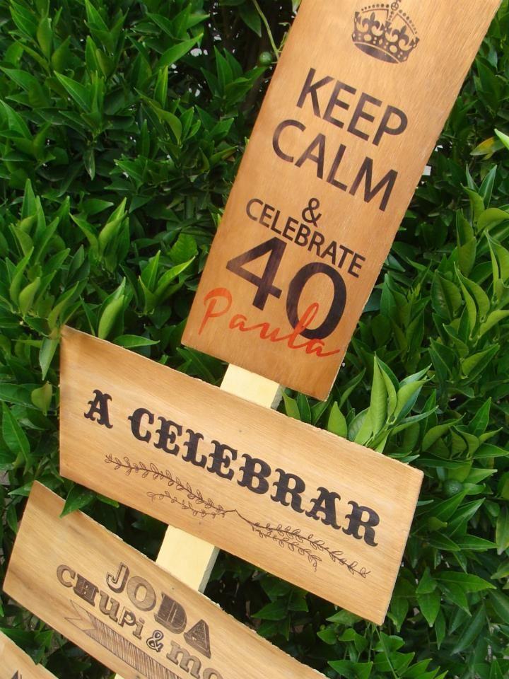 decoracion cumpleaños 40 - cartel impreso de madera 40 birthday decoration printed wooden sign keep calm www.facebook.com/ku.pa.108