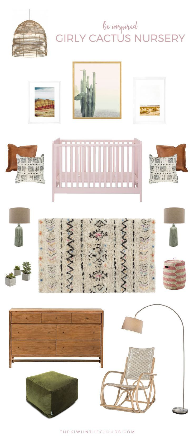 girls nursery ideas | cactus nursery | boho baby room | southwest