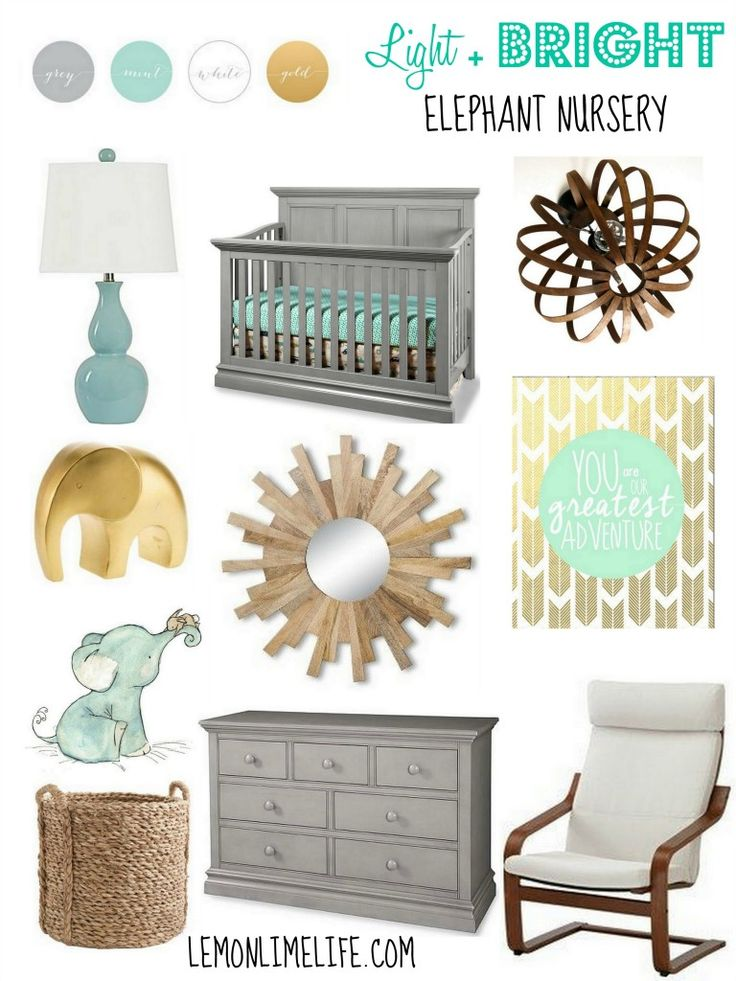 Nursery Inspiration - Light + Bright Neutral Elephant Nursery - Mint Green, Yellow, Gold and Grey | LemonLimeLife.com