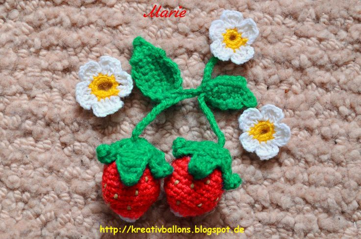 Erdbeeren häkeln Häkelanleitung  Super Anleitung Klapp einwandfrei