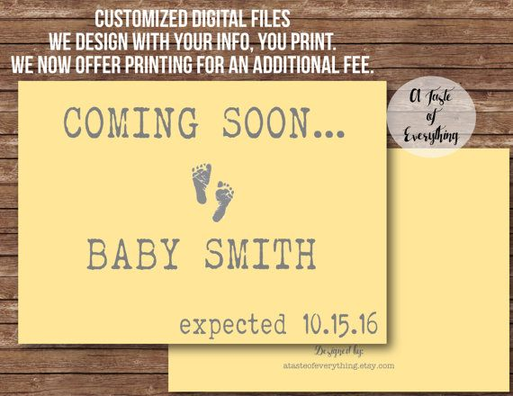 Coming soon Pregnancy announcement expecting baby due date footprint yellow