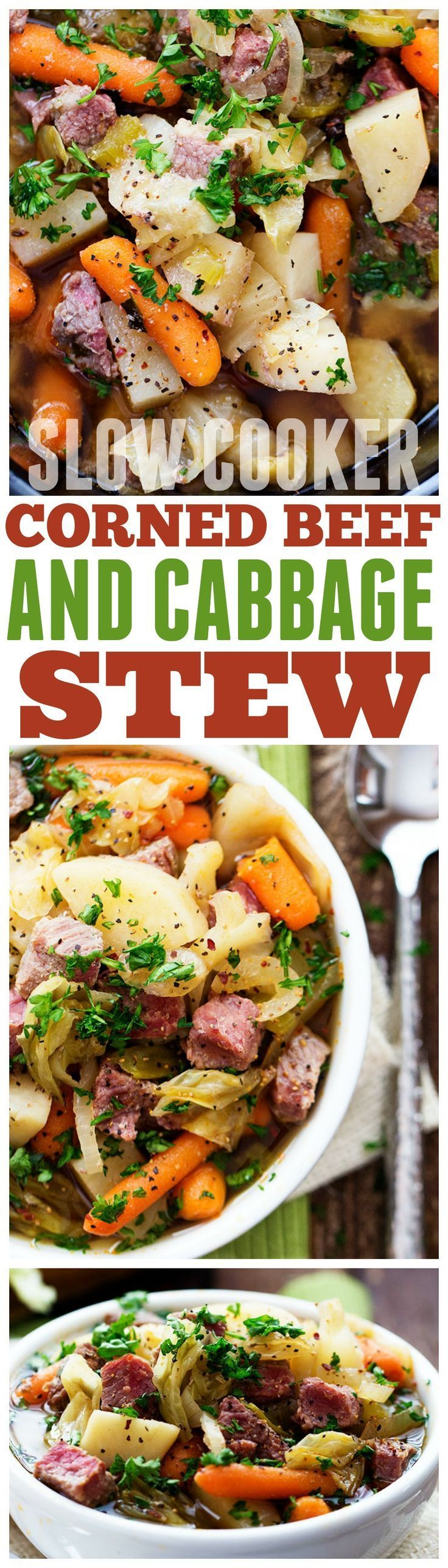 This Slow Cooker Corned Beef and Cabbage Stew is hearty and full of flavor!!