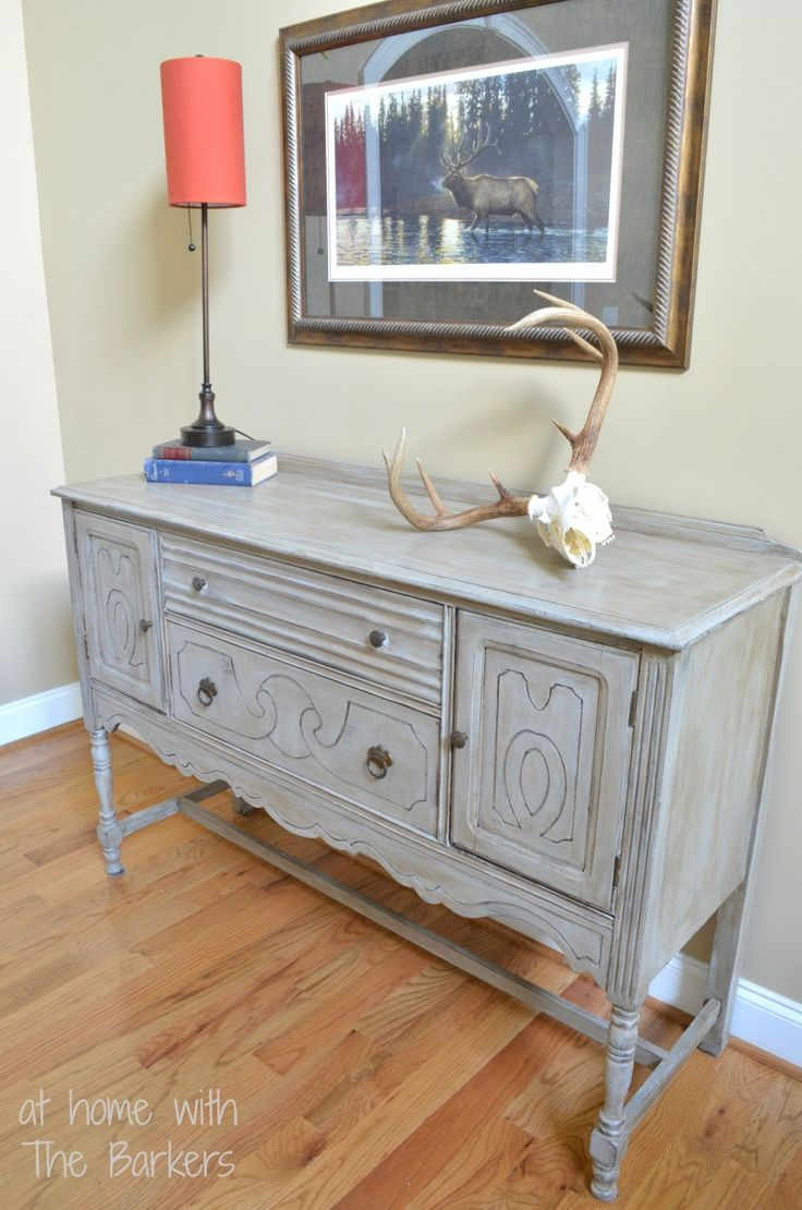 Paris Grey Chalk Paint® by Annie Sloan on Buffet Table Makeover | At Home with the Barkers
