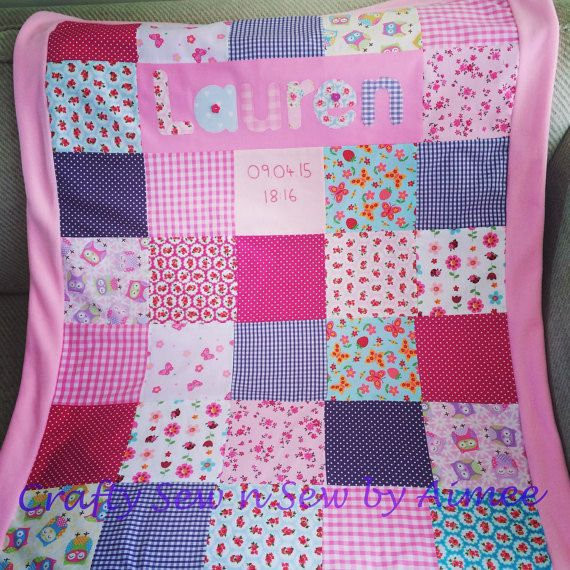 personalised baby blanket by CraftySewnSewbyAimee on Etsy