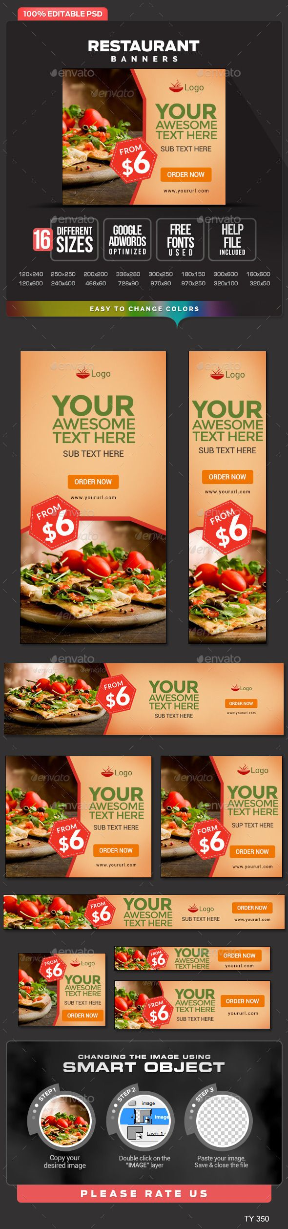 Restaurant web Banners Template PSD #banner #webbanner #design Download: http://graphicriver.net/item/restaurant-banners/10667243?ref=ksioks