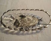 Silver City Glass Co Vintage Glass Reverse Painting Flanders Poppy Pattern Sterling Silver Overlay Relish Pickle Candy Dish