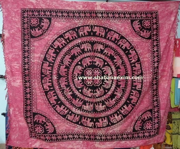 Round Elephant Indian Tie Dye Tapestry Bed Sheet No Description Product Id:	: 3049 Size:	: 150X220cm, 210X240 cm, Material:	: 100% Cotton Design:	: Printed Colors:	: Any Custom Color