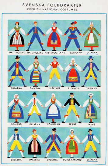 kitsch retro illustration folk costume poster art Svenska Folkdräkter~ Swedish National Costumes