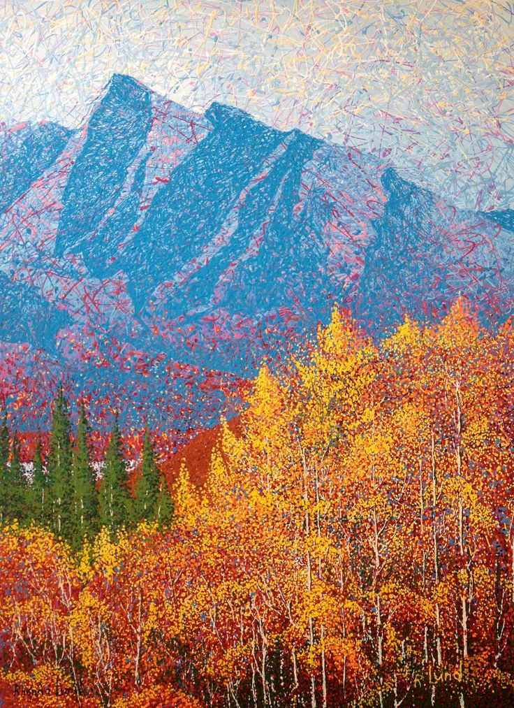 """Lake Abraham Saturday Morning"" by Artist Rhonda Lund 36 x 48"" Acrylic on Canvas; Staple back 2014 'a sparkling Saturday morning in the foothills of the Rockies"