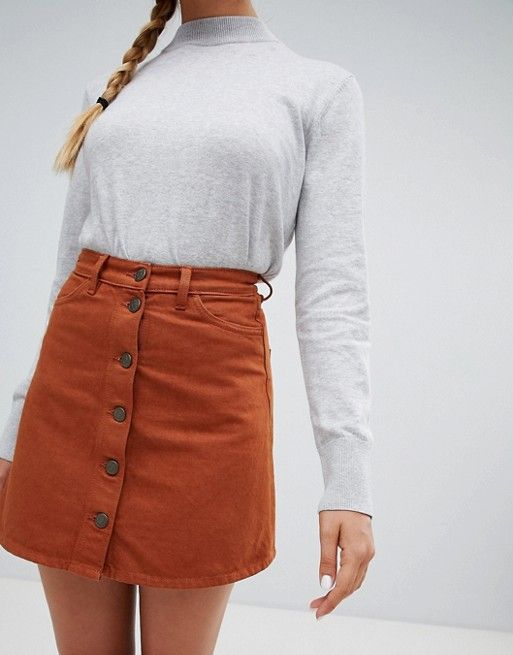 e3497ae6bb Monki Brown Denim Mini Skirt. #miniskirts #skirts #skirtoutfits #skirtsuit  #skirting