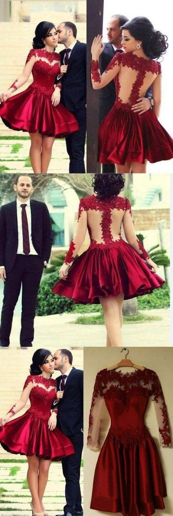 Burgundy Short Prom Dress Ball Gown High Neckline With Long Sleeves Lace Dark Wine Red Mini Plus Size Backless Lace Homecoming Dresses
