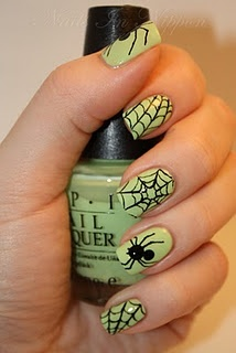 halloween nail polish: spider and spider web. I bet that's the glow in the dark polish - at least that's what I would use