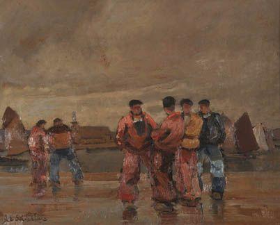 """Jim SEVELLEC (1897-1971) """"Marins de Camaret"""""""