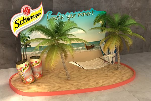 Schweppes gold peach summer lounge by Ahmed Ismail, via Behance