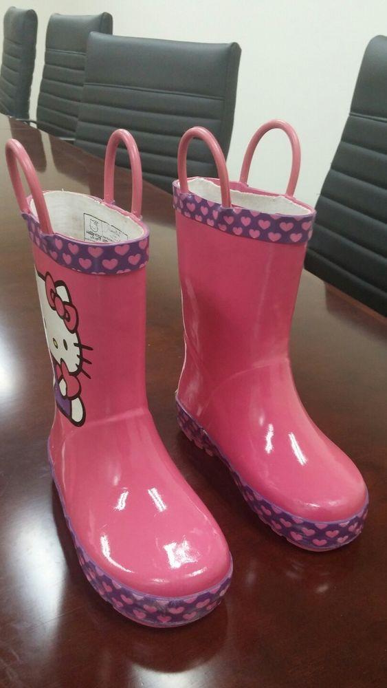 Western Chief Hello Kitty Rain Boots Pink Sz 7/8 #WesternChief #RainBoots