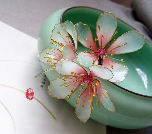 Peach blossom hair stick/hair comb/ Bridal by Numerousflowerfall