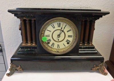 "New Haven Clocks Proudly Presents A Seth Thomas 8 Day ""Black Adamantine"" Brief Description MANUFACTURE; Seth Thomas Clock Company. CIRCA; 1890 to 1910. CASE; Original Black Adamantine in good conditi"