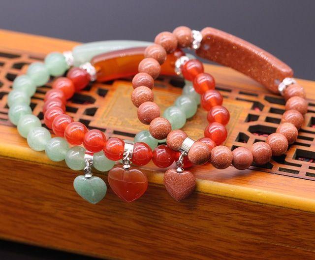 8 MM Natural pedra de ouro areia pedra contas de Jade rodada Beads estiramento pulseira 19 cm 1 Pcs
