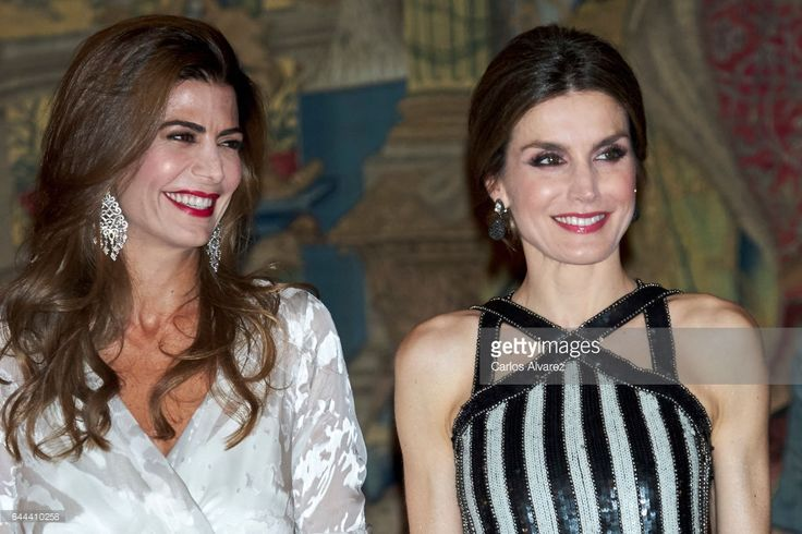 Argentina's President Mauricio Macri and wife Juliana Awada (L) offer a reception in honour of King Felipe of Spain and Queen Letizia of Spain (R) at El Pardo Palace on February 23, 2017 in Madrid, Spain.