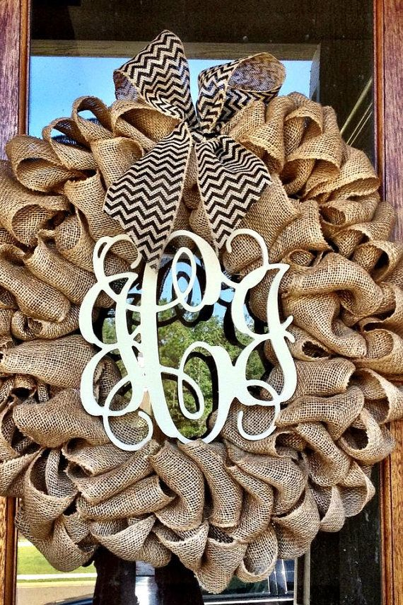 Burlap Wreath - Etsy Wreath - Fall Wreaths for door - Door wreath - Monogram Wreath - Initial Wreath on Etsy, $85.00 - Can make using the Burlap garland steps and join together and add bow