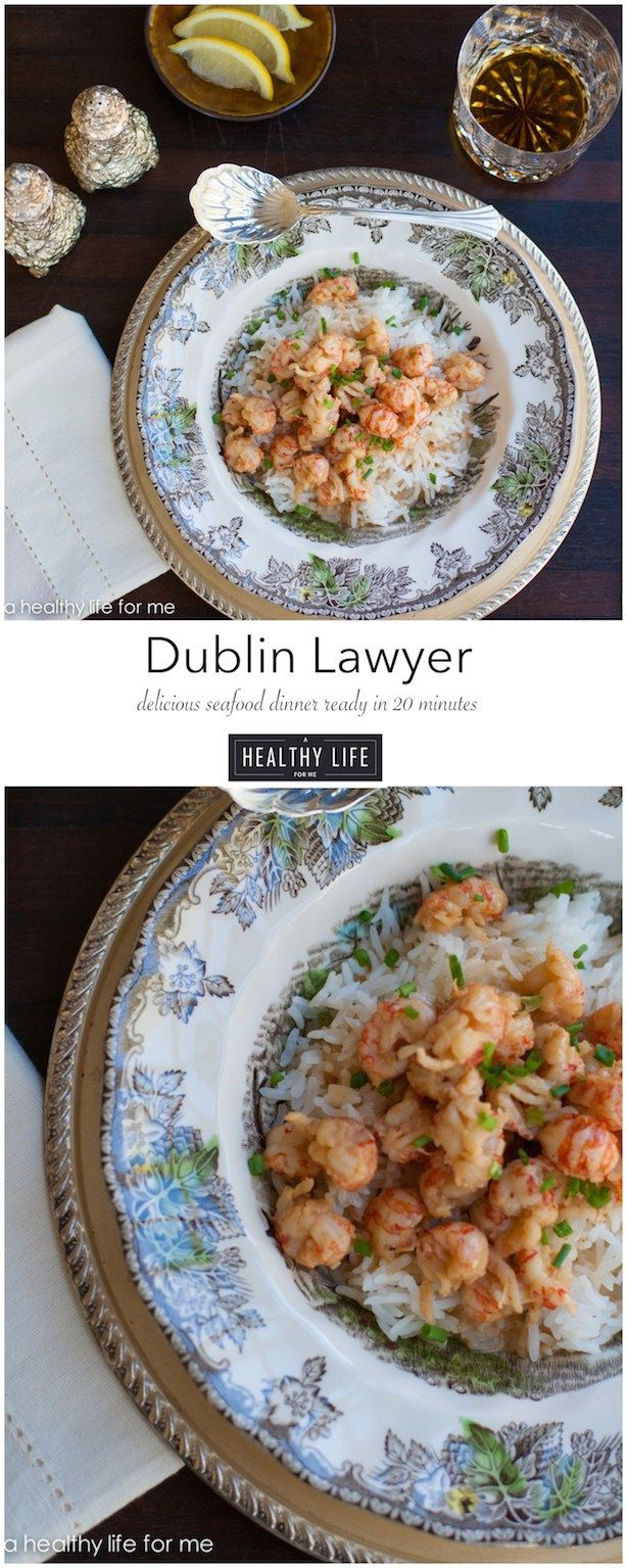 Dublin Lawyer with Rice is a simple delicious seafood dish that is ready in 20 minutes.  Made with Langostino which is the meat from a squat lobster and a bit of whisky and cream to give it great flavor. {you can substitute shrimp or lobster for langostino} - A Healthy Life For Me