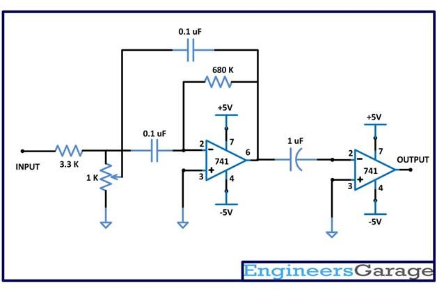 Circuit Diagram of MBF Band Pass Filter with Buffer ...