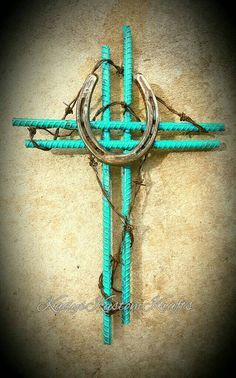 Ooak-Rustic Horseshoe cross-Blue Rustic by KadysKustomKrafts