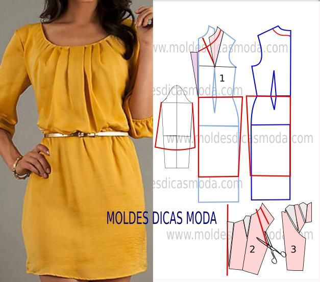 Faça a analise de forma detalhada do desenho do molde de vestido amarelo. Simples e belo, veste de forma descontraída e elegante.