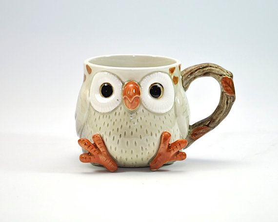 Adorable Vintage Owl Mug Cup - Fitz and Floyd - Ceramic Collectible - Retro Drinkware