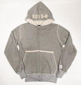 B-side Mens Felt Signature Zip Through Hooded Sweatshirt Grey   £100.00