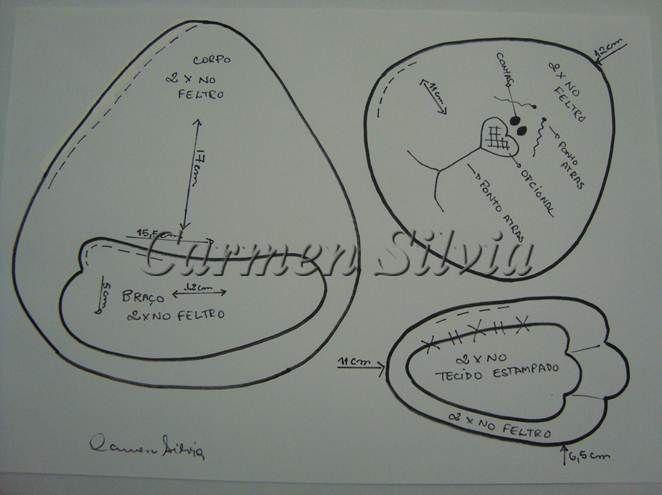 Moldes Para Artesanato em Tecido: Coelhinho da Páscoa - Feltro com molde