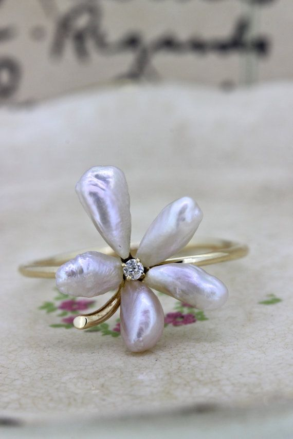 Dainty Pearl Flower Ring | Antique Stick Pin Conversion Ring | Delicate Yellow Gold Stacking Ring | June Gemstone Cocktail Ring | Size 7.5 by FergusonsFineJewelry