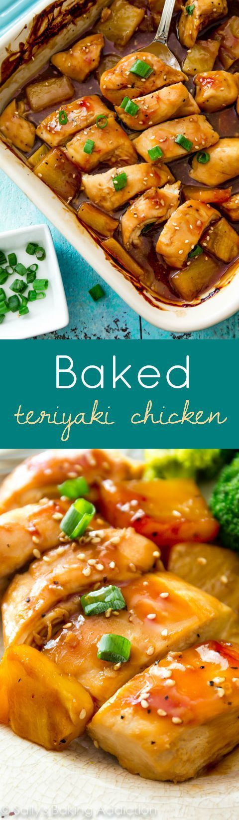 Two easy steps to an amazing dinner; simply pour this homemade teriyaki sauce over chicken and bake! Recipe on sallysbakingaddiction.com