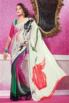 White, Green Georgette Digital Printed Saree